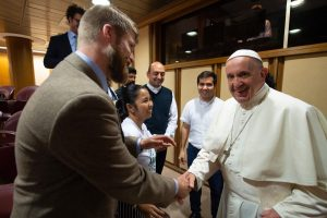 Jonathan Lewis greets Pope Francis
